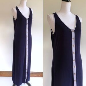 Willi Smith Button Up Maxi Dress Navy Blue Size L